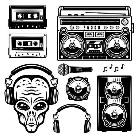 Alien in headphones and musical equipment set of vector objects or design elements isolated on white background