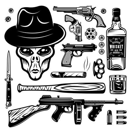 Alien gangster and weapons set of monochrome vintage objects, design elements isolated on white background vector illustration Illustration