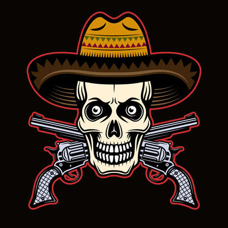 Skull in mexican sombrero hat and two crossed pistols vector illustration in colorful cartoon style isolated on dark background