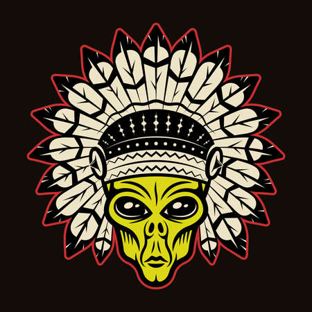 Alien head in indian headdress vector illustration in colorful cartoon style isolated on dark background