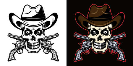 Skull in cowboy hat and crossed pistols vector illustration in two styles black on white and colorful on dark background Illustration