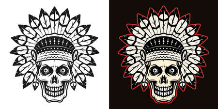 Skull in indian headdress vector illustration in two styles black on white and colorful on dark background Illustration