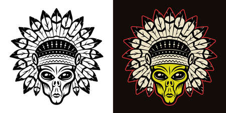Alien head in indian headdress vector illustration in two styles black on white and colorful on dark background Illustration