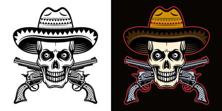 Skull in mexican sombrero hat and crossed pistols vector illustration in two styles black on white and colorful on dark background