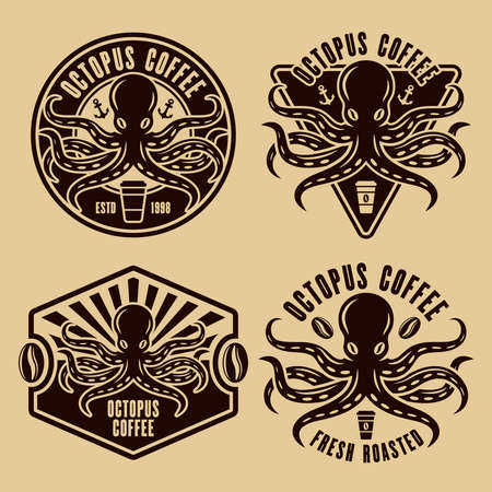 Octopus coffee set of four vector emblems, badges or   concepts in vintage style illustration
