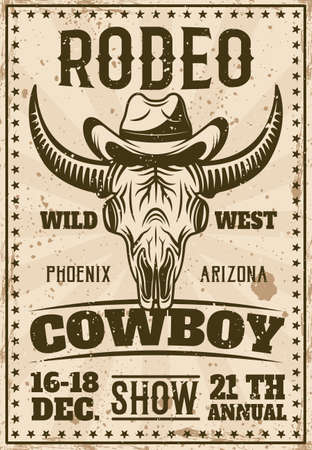 Rodeo show vintage poster with buffalo skull in cowboy hat vector illustration. Layered, separate grunge texture and text