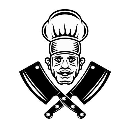 Chef head and two crossed butchery cleavers vector graphic object or design element in vintage monochrome style isolated on white background