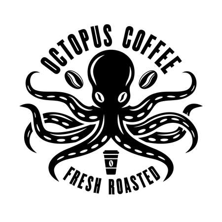 Octopus coffee  concept in vintage black and white style isolated on white background
