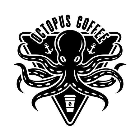 Octopus coffee concept in vintage black and white style isolated Illustration