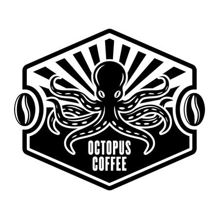 Octopus coffee vector emblem, badge, label or concept in vintage monochrome style isolated on white background