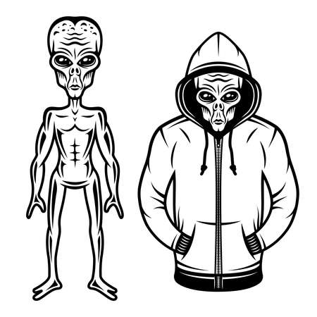 Alien in hoodie and full body alien set of vector objects or design elements in vintage style isolated on white background Illustration