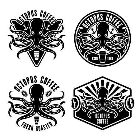 Octopus coffee set of four vector emblems, badges or  concepts in vintage monochrome style isolated on white background illustration Illustration