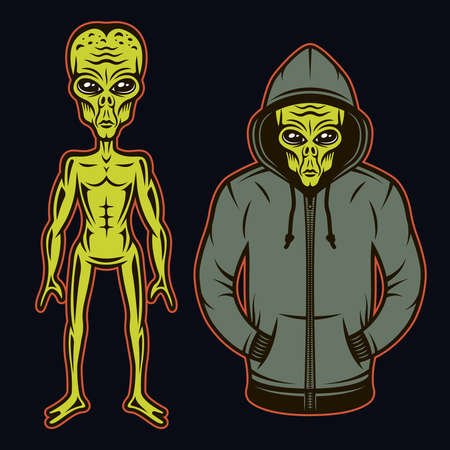 Alien in hoodie and full length body alien set of vector objects or design elements in cartoon colored style on dark background
