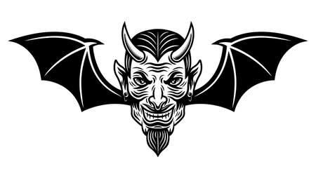 Devil head with bat wings vector illustration in monochrome tattoo style isolated on white background
