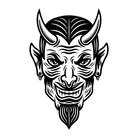 Devil or lucifer head vector monochrome illustration in vintage style isolated on white background