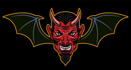 Devil head with bat wings vector illustration in colored cartoon style isolated on dark background