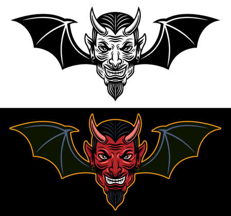 Devil head with bat wings two styles black on white and colored on dark background vector illustration Illustration