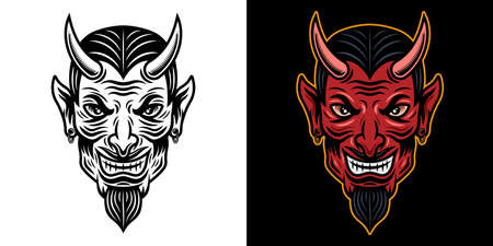 Devil head in two styles black on white and colorful on dark background vector illustration Illustration