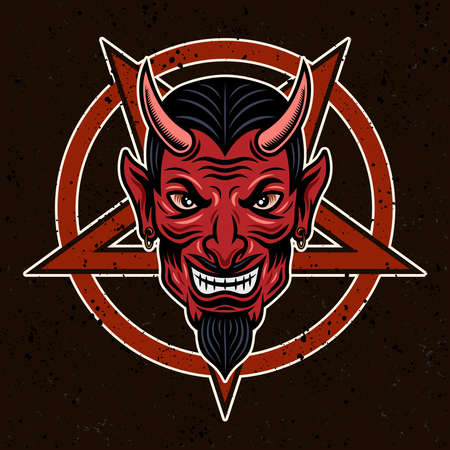 Devil head and pentagram vector illustration in colorful style on dark background Illustration
