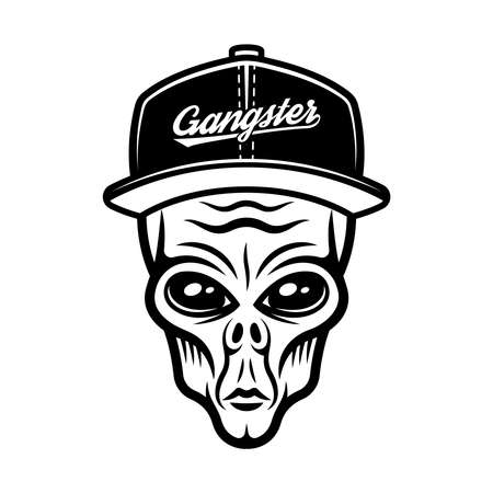 Alien head in cap vector illustration in vintage monochrome style isolated on white background