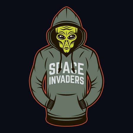 Alien in hoodie vector object or design element in cartoon colored style on dark background