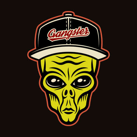 Alien head in baseball cap character colorful vector illustration in cartoon style isolated on dark background Illustration