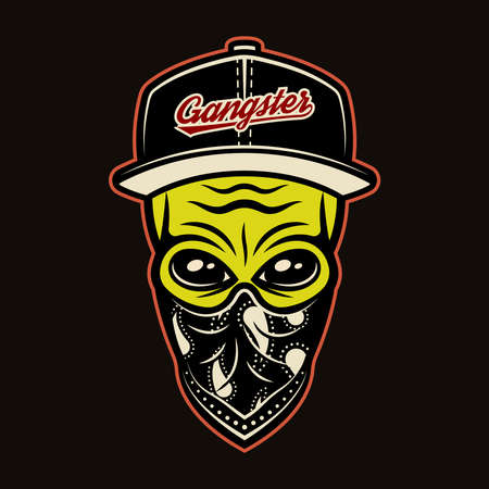 Alien head in baseball cap and bandana on face gangster character colorful vector illustration in cartoon style isolated on dark background