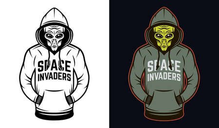 Alien in hoodie two styles black on white and colorful on dark background vector illustration