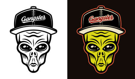 Alien head in baseball cap two styles black on white and colorful on dark background vector illustration