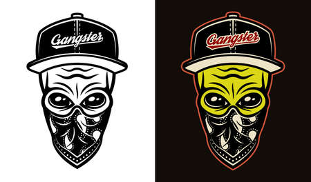Alien head in baseball cap and bandana on face two styles black on white and colorful on dark background vector illustration