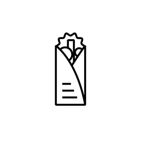 shawarma icon vector illustration outline design