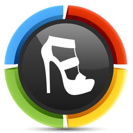 sandal: icono sandalia del alto talón Vectores