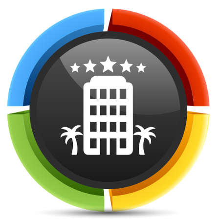 hotel building: five star hotel  building icon