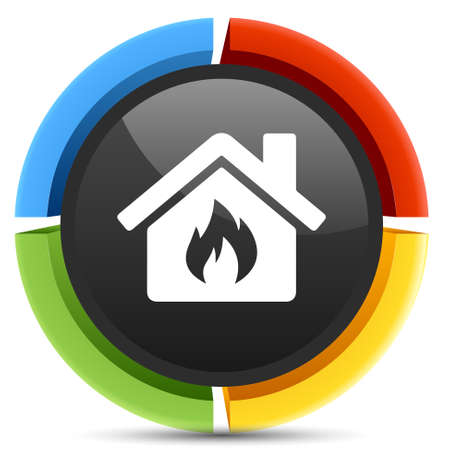 flood damage: fire home icon