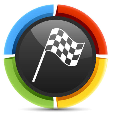 racing checkered flag crossed: racing flag icon Illustration