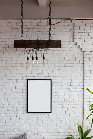 Mock up. White brick wall with place for your design. Foto de archivo