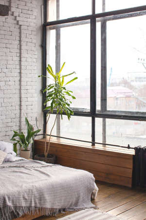 Eclectic bedroom interior with tropical plants. White brick wall and wooden floor.