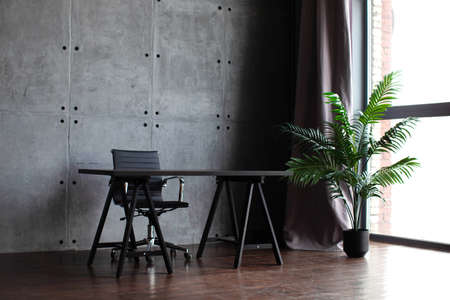 desk in the office. Tropical flower in a pot. Home interior or office in modern style.