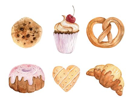 Set with watercolor hand drawn bakery elements. Chocolate cookies, cake, croissant, pretzel.