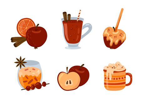 Vector set with seasonal autumn and winter drinks, desserts and pastry. Mulled wine, hot chocolate, apple in caramel, spices.