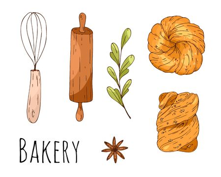 Vector illustration with hand drawn bakery elements. Menu design, shop wrapping paper. Çizim