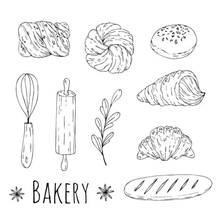 Vector illustration with hand drawn doodle bakery elements.