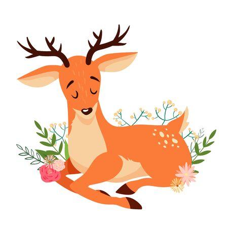 Cute lying cartoon deer with floral elements.