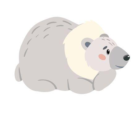 Cute cartoon bear isolated on white background.
