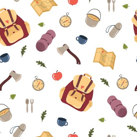 Seamless pattern with Hiking and Camping design elements. Cute cartoon vector illustration.
