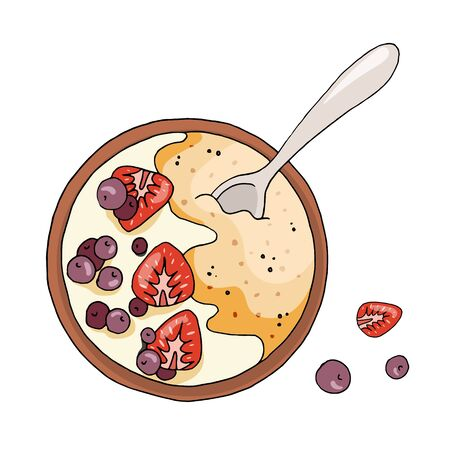 Healthy breakfast, oatmeal porridge with berries. Hand drawn food illustration. Vector composition isolated on white background.  イラスト・ベクター素材
