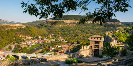 Panorama of the city of Veliko Tarnovo from Bulgaria, seen from the walls of the Tsarevets Fortress. Reklamní fotografie