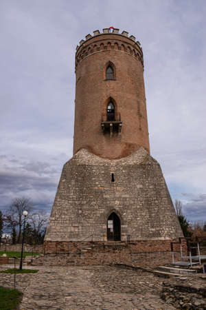 The Chindia Tower, made in the time of Vlad the Impaler, from Targoviste, Romania. View on a beautiful cloudy day. Stock Photo