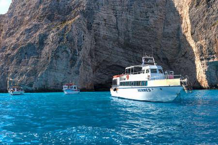 ZAKYNTHOS, GREECE, September 27, 2017: Cruise boats in bay of Navagio beach on the island of Zakynthos. Greece. Editorial