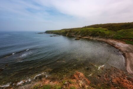 Magnificent daily seascape near the village of Sinemorets, Bulgaria. Spring landscape over the sea. 免版税图像